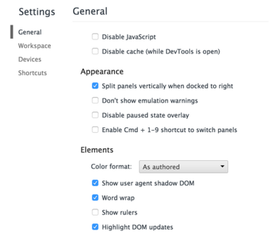 Shadow DOM Chrome Setting