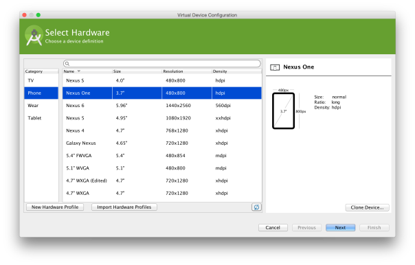 AVD Manager: Select Hardware