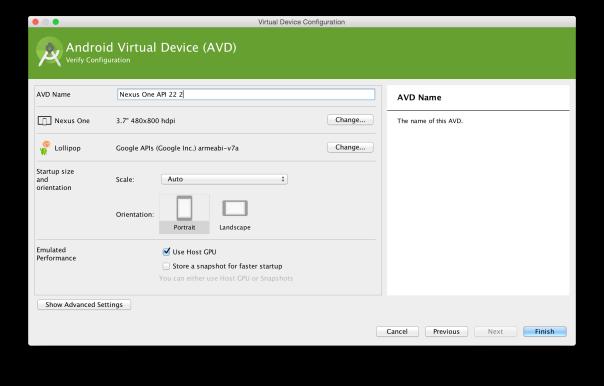 AVD Manager: Enter AVD Name